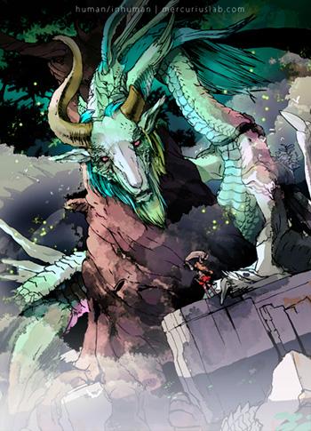 竜と竜騎士子さん絵。pixivのドラゴンマガジンコンテスト出そうかと思ったけど、途中で自主没。